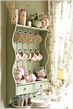 Lovely Kitchen Shelf. I'm going to repaint my shelf...: Coffee Nook, Kitchen Shelves, Color Green, Shabby Chic, Country Cottage, Cottage Style, Coffee Station