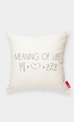 meaning of life: food + love + sleep :): Life Food Love Sleep, Life Cushion, Cushion 3, Funny Pillow, Cushion Covers, Meaning Of Life, Baby Cat, Cross