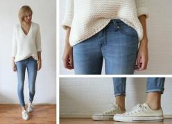 More skinny jean Winter outfit ideas - ankle crops, white Converse, and an oversized sweater: Simple Outfit, White Converse, Casual Outfit, Style, Fall Winter, Converse Outfit