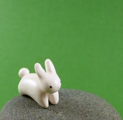 Motion Bunny - Hand Sculpted Miniature Polymer Clay Animal: Craft, Polymer Clay Kawaii Animals, Polymer Clay Animals, Clay Creations, Clay Bunny, Animal Face, Bunnies