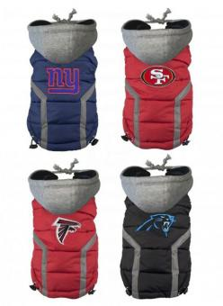 NFL Dog Puffer Hoodie Vests - Dog Milk: Dogs Dogs, Dog Puffer, Doggy Dogs, Dogs Fogs, Hoodie Vests, Dog Costumes, Nfl Dog, Puffer Hoodie
