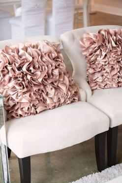 Off-white chairs with a splash of rose pink creates instant luxury.: Decor, Interior, Ideas, Pink Ruffle, Style, Ruffle Pillows, Living Room, Throw Pillows, Ruffled Pillows
