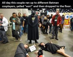 Oh my. This is terribly awesome. Cosplay as batman's parents. This is either genius or pure evil.: