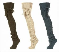 over the knee cable knit socks. perfect for layering with boots...or lounging around the house on cold winter days: Knit Socks, Fashion, Tall Fall Boot, Thigh High Socks Outfit, Style, Cold Winter, Cable Knit, Boot Socks