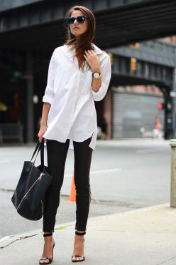 oversized white button down, skinny jeans & heeled sandals #style #fashion: Street Style, White Shirts, Outfit, Black White, White Button, Black Jeans, Classic