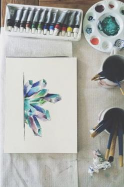 pιnтereѕт: @WhyYouTagginMe: Watercolor, Old Soul, Art, Drawing Crystals, Photo, Painting, Crystal Drawings