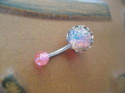 Pink Fire Opal Belly Button Jewelry Ring Stud- Navel Piercing Stone Bar Barbell: Fire Opals, Navel Piercing, Opal Belly, Belly Button Jewelry, Jewelry Rings, Pink Fire
