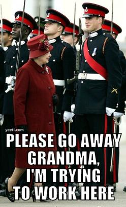 Please go away: Giggle, Queen, Royal, Funny Stuff, Funnies, Smile, Grandma