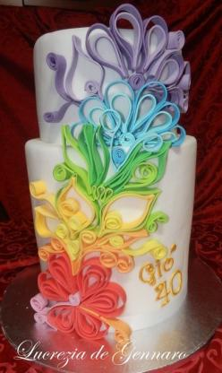 quilling cake - by sweet_sugar_crazy @ CakesDecor.com - cake decorating website: someday!!!: Rainbow Cake, Fondant Birthday Cake, Cake Design, Amazing Cake, Beautiful Cake, Wedding Cake, Awesome Cake, Cake Decorating