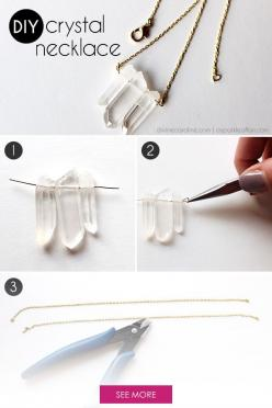 Raw crystals and gems are unique and beautiful, especially when they're used in jewelry. Check out this easy necklace DIY. #divinecaroline #DIY #jewelry: Diy Crystal Necklace, Diy Necklaces, Crafty, Crystals Jewelry Diy, Diy Project, Crystal Necklace