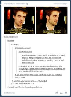 Robert Pattinson. His professional life may suck, but it seems like the dude may actually be pretty awesome outside his work. #i am one of them: Hates Twilight, Giggle, Professional Life, Guy, Hate Twilight, So Funny, Robert Pattinson Funny, Pretty Awesom