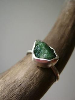 Rough Raw Emerald Ring  in Sterling and Pure by metalmorphoz, $130.00: Raw Emerald, Pure Silver, Emeralds, Rough Raw, Sterling Silver, Emerald Rings