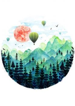 Roundscape by Fil Gouvea/Illustration style in the leaflet: Hot Air Balloon Tattoo, Iphone Wallpaper, Art Style, Watercolor Mountain, Watercolor Idea, Illustration Style