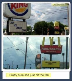 Shit just got real.: Funny Picture, Funny Stuff, Funnies, Things, Mcdonalds, Shit, Burger Kings