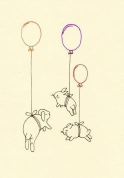 So cute, the laws of physics have no place here.: Babies, Baby Room Art, Bunnies Cute Illustration, Bunny Balloons, Balloon Bunnies, Baby Balloons, Bun Balloons