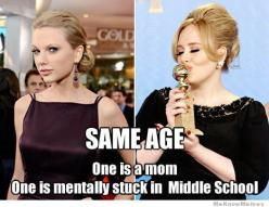 Taylor Swift vs Adele, almost same age, one year apart: Taylor Swift, Taylorswift, Giggle, Middle School, Stuff, Funny, So True, Adele