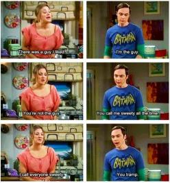 That was me when I was little. My dad would call someone else honey, and I'd get mad and think he was cheatin' on my Mama. LOL.: Bigbangtheory, Quote, Sheldon, Funny, Bangs, The Big Bang Theory