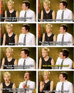 The Funniest Jennifer Lawrence Moments Ever: Josh Hutcherson, Hunger Games, Funny, Hungergames, Jenniferlawrence, Jennifer Lawrence, Jlaw, J Law
