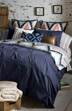 The mixture of chevron and metallic accents adds a touch of modern charm to this stylish bedding.: Guest Room, Guest Bedroom, Duvet Cover, Bedset, Master Bedroom