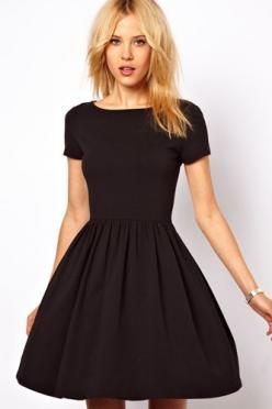 The perfect LBD. Natural waist, slimming sleeves, modest length, and you can wear it preppy or rock gangster.: Asos Skater, Fashion, Style, Outfit, Little Black Dresses, Skater Dresses, Lbd