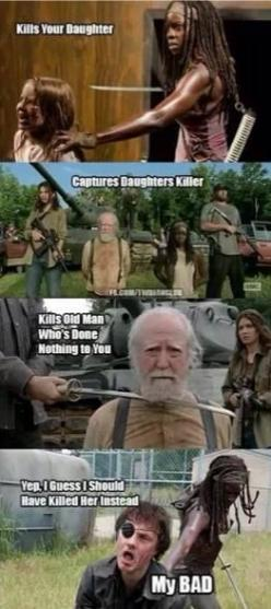 The Walking Dead season 4 memes: Daughters Killer, Dead Funnies, The Walking Dead Memes, The Walking Dead Michonne, Walkingdead, Captures Daughters, Dead Expert, Walking Dead ️