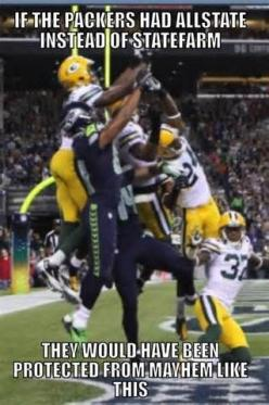 They should have just slapped the ball away but noooo.....had to go for the INT....good for the Seahawks tho'.: Seahawks Football Humor, Nfl Football Humor, Seahawks Humor, Packers Meme, Nfl Seahawks, Funny Football Memes, Seahawks Funny, Nfl Football