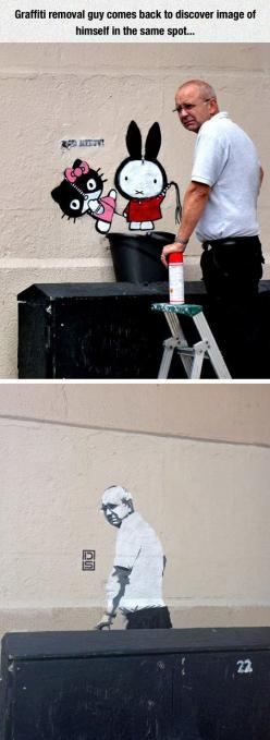 This Is The Ultimate Troll: Funny Prank, Removal Guy, Really Funny, Funny Pictures, Graffiti Removal, Funny Random, Street Art, Streetart