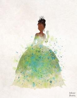 Tiana is my favorite Disney princess because she shows that women who fight for what they want can get it without a man but still get their happy ever after...and  a husband: Watercolor Art, Art Illustrations, 1 1 Disney, Watercolors, Water Color Art Disn