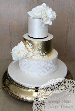 To see more beautifully designed wedding cakes: http://www.modwedding.com/2014/11/11/prettiness-exquisite-wedding-cakes-faye-cahill-cake/ #wedding #weddings #wedding_cake cake: Faye Cahill Cake: Cakes Cupcakes Muffins Pies, Gold Weddings, Gold Wedding Cak
