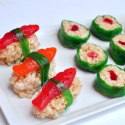 two of my favorite things.  candy and sushi. this stuff is just waaaaay too good and super easy!: Candy Sushi, Recipe, Food, Swedish Fish, Fun, Party Ideas, Rice Krispie, Kid