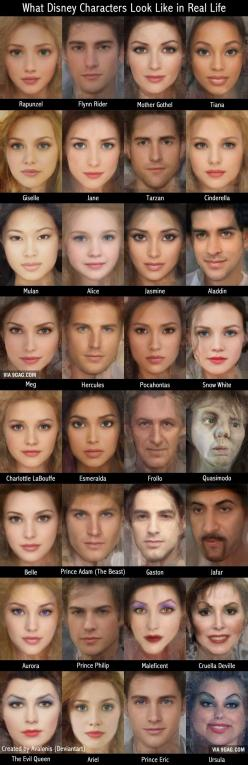 What Disney characters might look like in real life. I definitely don't agree with all these: Disney Stuff, Disney Cartoon, Real Life, Disney Princesses, Disney 3, Flynn Rider, Disney Pixar Dreamworks, Disney Characters