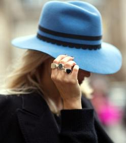 @Who What Wear - Day 2Image via The Styleograph: Hats, Style Inspiration, Fashion Week, Street Style, Felt Hat, Rings, Accessories, Photo