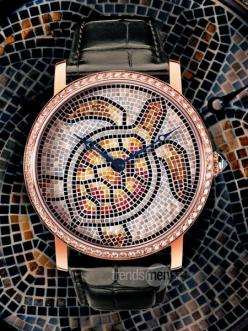 Whoa crazy!  Cartier turtle mosaic watch.: Cartier Turtle, Art Of Trades, Awesome Turtles, De Cartier, Cartier Watches, Turtle Mosaic Art, Turtle Mosaics, Sea Turtles, Wrist Watch