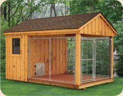 Wish all dogs were protected in a kennel like this if owner must leave them out for periods of time.  8 x 12 Dog Kennel: Doghouse, Dogs, Kennel Idea, Dog Pen, Pet, Dog Houses, Dog Kennels, Animal