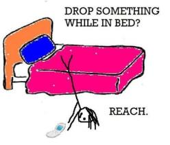 Yes! I will go to great lengths to stay in bed while reaching for something...usually a book...: Quotes, Sotrue, Bed, Funny Stuff, So True, Funnies, Humor, Things