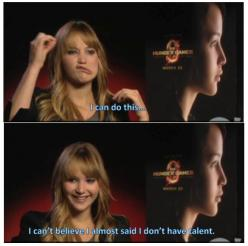 """do you have any secret talents or party tricks?""  haha! can't believe she almost said she didn't have a talent. ;): Talents Ortricks, Jennifer Lawerence, Games Interview, Thg Jlaw Jhutch, Movies, Facial Expressions Evar, People, Jennifer"