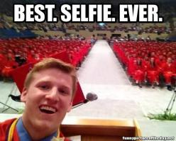 """I have two things to say. Number one: Go make something of yourself. Two: It's Selfie Sunday so smile for Instagram!"": Selfie Sunday, Picture, Bucket List, Giggle, High School, Funny Stuff, Funnies, Graduation"