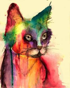 """""""Kaytee Callahan, another tattoo idea"""" because a mix of cat / watercolor / tattoo is always a great idea: Cats, Cat Art, Idea, Cat Painting, Watercolors, Watercolor Cat, Water Colors, Animal"""