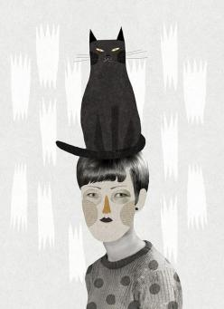 'Un gat en el cap' (A cat in the head) (2011) by French artist & illustrator Mathilde Aubier (b.1984). via Ma_thilde on flickr: Cat Art, Black Cats, Cat Illustration, In The
