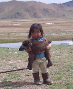 A Mongolian baby and her goat. S'cute Am bringing one for every child tomorrow !!!!: