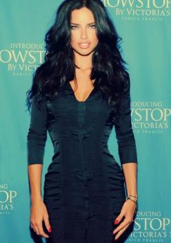 Adriana Lima hairstyle. I don't think I could pull off this kind of pitch black color...but it looks nice on her :): Black Hair, Adriana Lima, Makeup, Hairstyle, Beauty, Beautiful People, Adrianalima, Hair Color