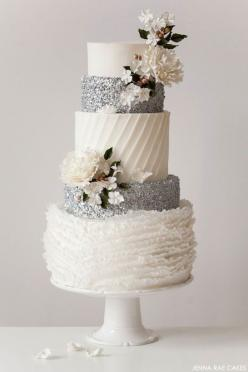 All the different textures on this white & silver wedding cake are divine! // Cake by Jenna Rae Cakes #weddingcake: Wedding Ideas, Weddings, Winter Wedding, Wedding Cakes, Beautiful Cake, Silver Wedding, Silver Sequin