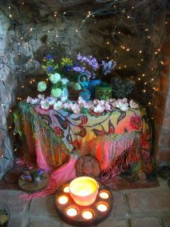 Altar for spring! I love this but to recreate it I would need to find that scarf! Does anyone have it? : ) Is this beautiful or what?!: Pagan Altar, Shrine, Sacred Spaces, Moonroot S, Altar Inspiration, Altars, Beltane Altar