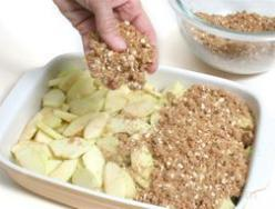 Apple Crisp. 6 c. sliced apples, 1 1/4 c. brown sugar, 3/4 c. Flour, 3/4 c. quick oats, 1/2 c. Butter, 1 tsp. Nutmeg, 1 1/4 tsp. Cinnamon 1.Preheat oven to 375. 2.Butter dish and place in sliced apples. 3.Combine remaining ingredients in a bowl 4.Sprinkle