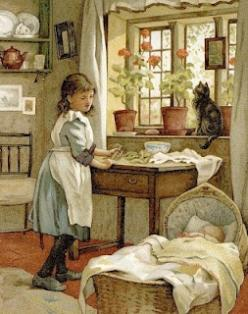 Babysitter.  Carl Larsson. Repinned by www.mygrowingtraditions.com: Cat, Vintage Illustration, Art, Bumble Button, Baby, Children S Books, Children Books, Painting, Book Illustration