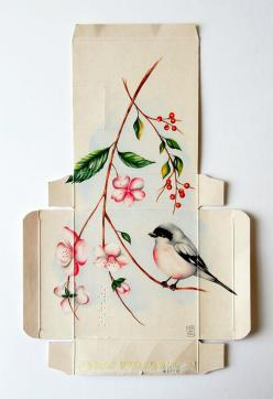 Birds Painted on Unfolded Pharmaceutical Boxes by Sara Landeta: Unfolded Pharmaceutical, Medicine Boxes, Pharmaceutical Boxes, Art, Bird Illustrations, Painting, Design