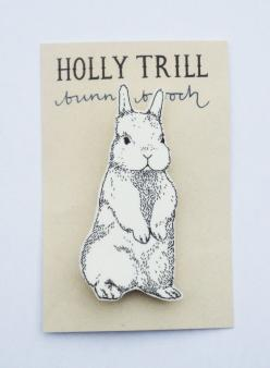 bunny brooch ++ holly trill: Pins Brooches, Illustrated Bunny, 4 50, Holly Trill, Bunnies
