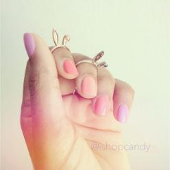 bunny rings!: Bunny Rings, Midi Rings, Accessory, Rings Bunnies, Pink Nails, Ears Rings