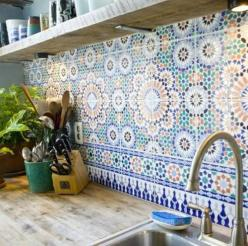 Can get tiles like this fairly cheap to do the section of wall between the counter tops and the bottom of the cupboards: Kitchens, Interior, Idea, Back Splash, Dream, House, Tile Backsplash, Moroccan Tiles, Kitchen Tiles