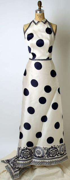 Carolina Herrera Dress - late 20th century - by Carolina Herrera  (American, born Venezuela, 1939) - Synthetic - The Metropolitan Museum of Art - @~ Mlle: Evening Dresses, 1939 Evening, Fashion, Polka Dots, Polkadot, Carolina Herrera Gown, Carolina Herrer
